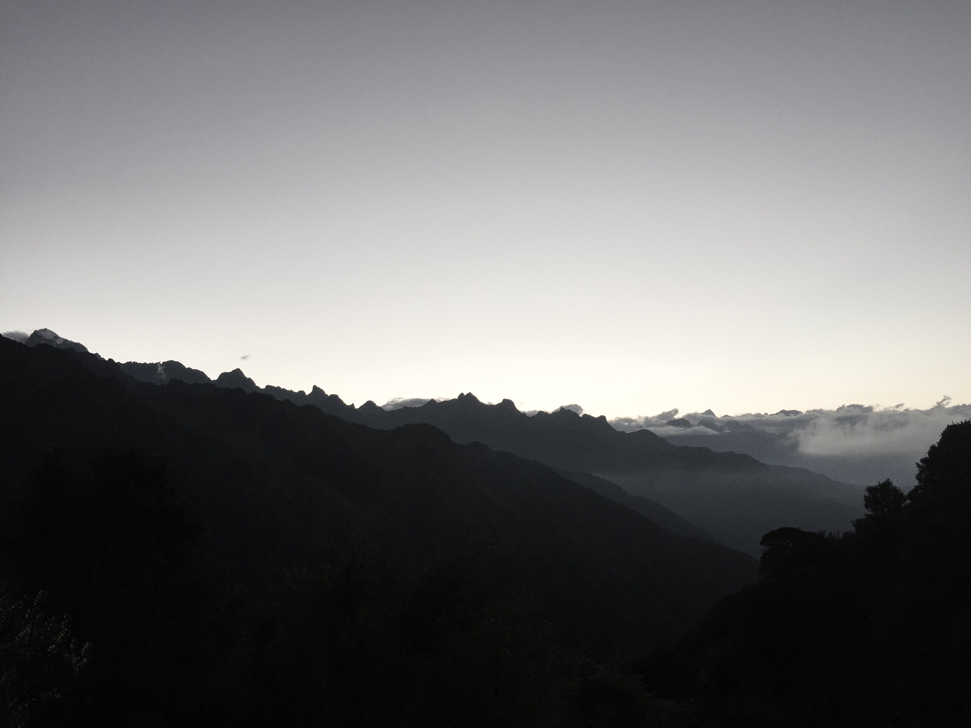 trekking the inca trail sunset