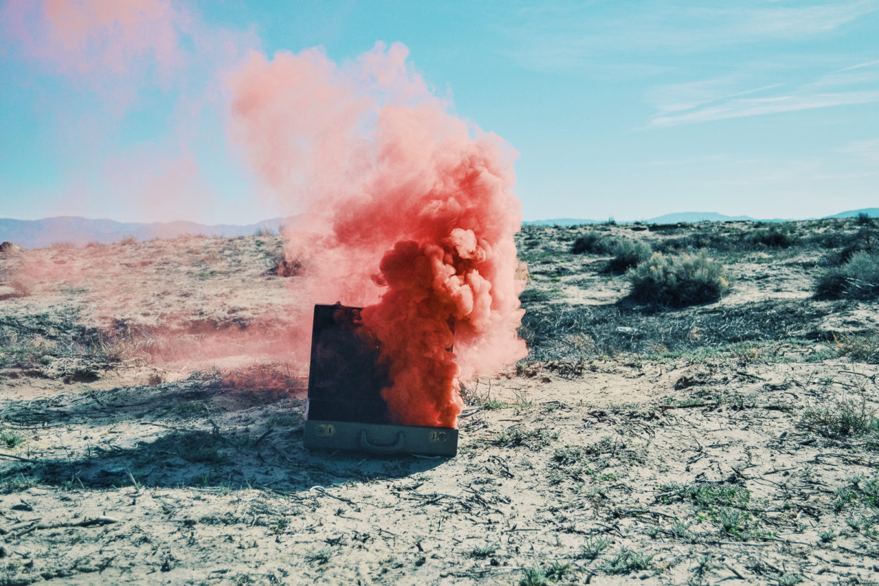 suitcase blowing up