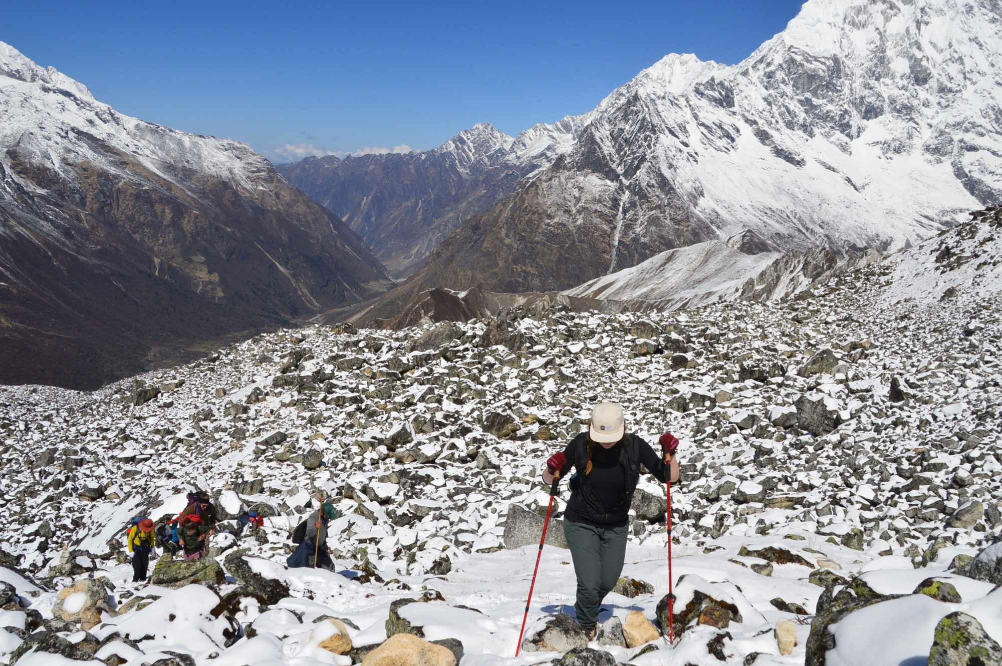 Trekker Climbs Along the Langtang Valley Trek