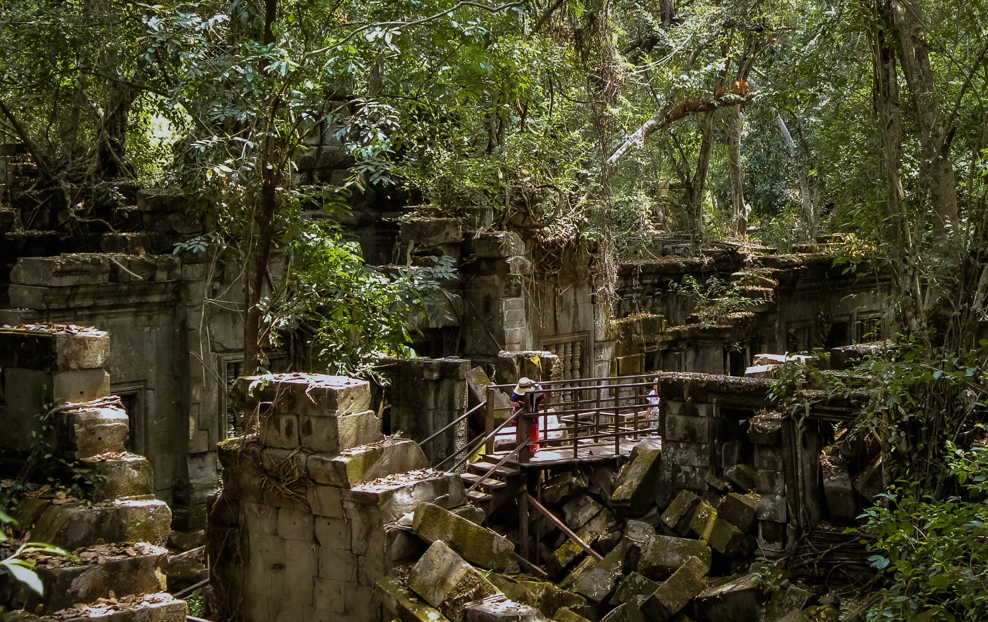 Lady walks along path in hidden temples of Siem Reap