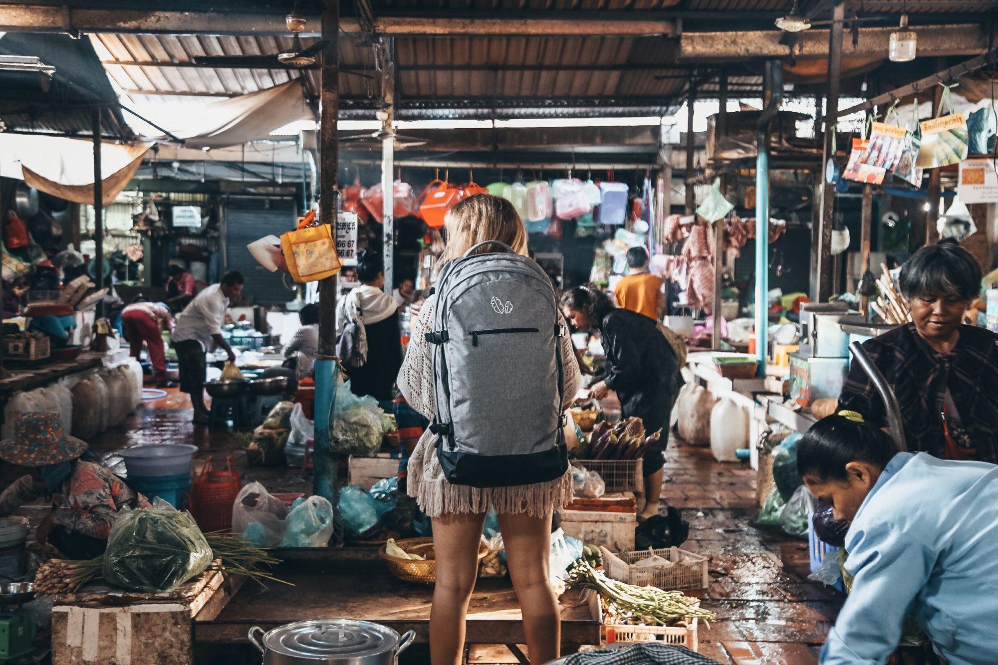 Banana Backpacks Khmer Explorer in Phnom Penh market