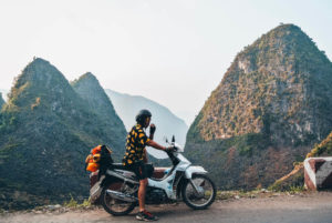 Man Motorbiking the Ha Giang Loop