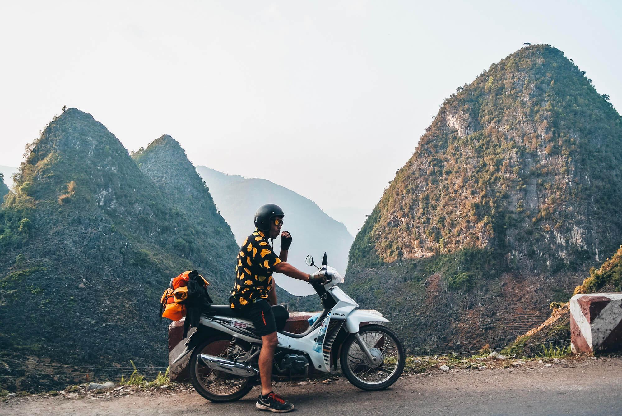 Man Motorbiking the Ha Giang Loop