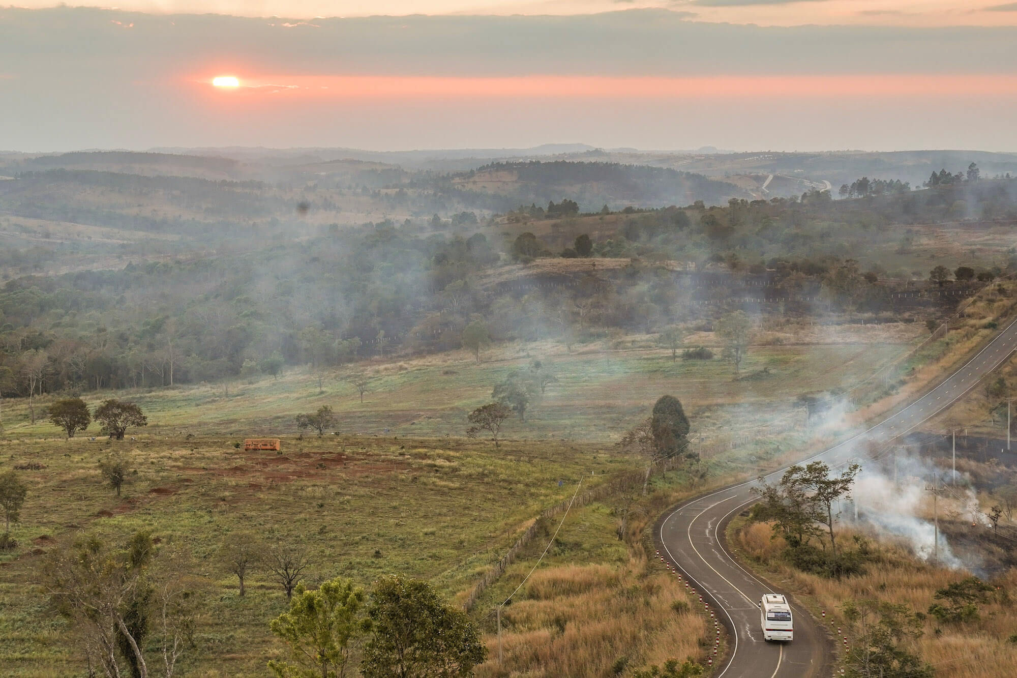 Mondulkiri road at sunset