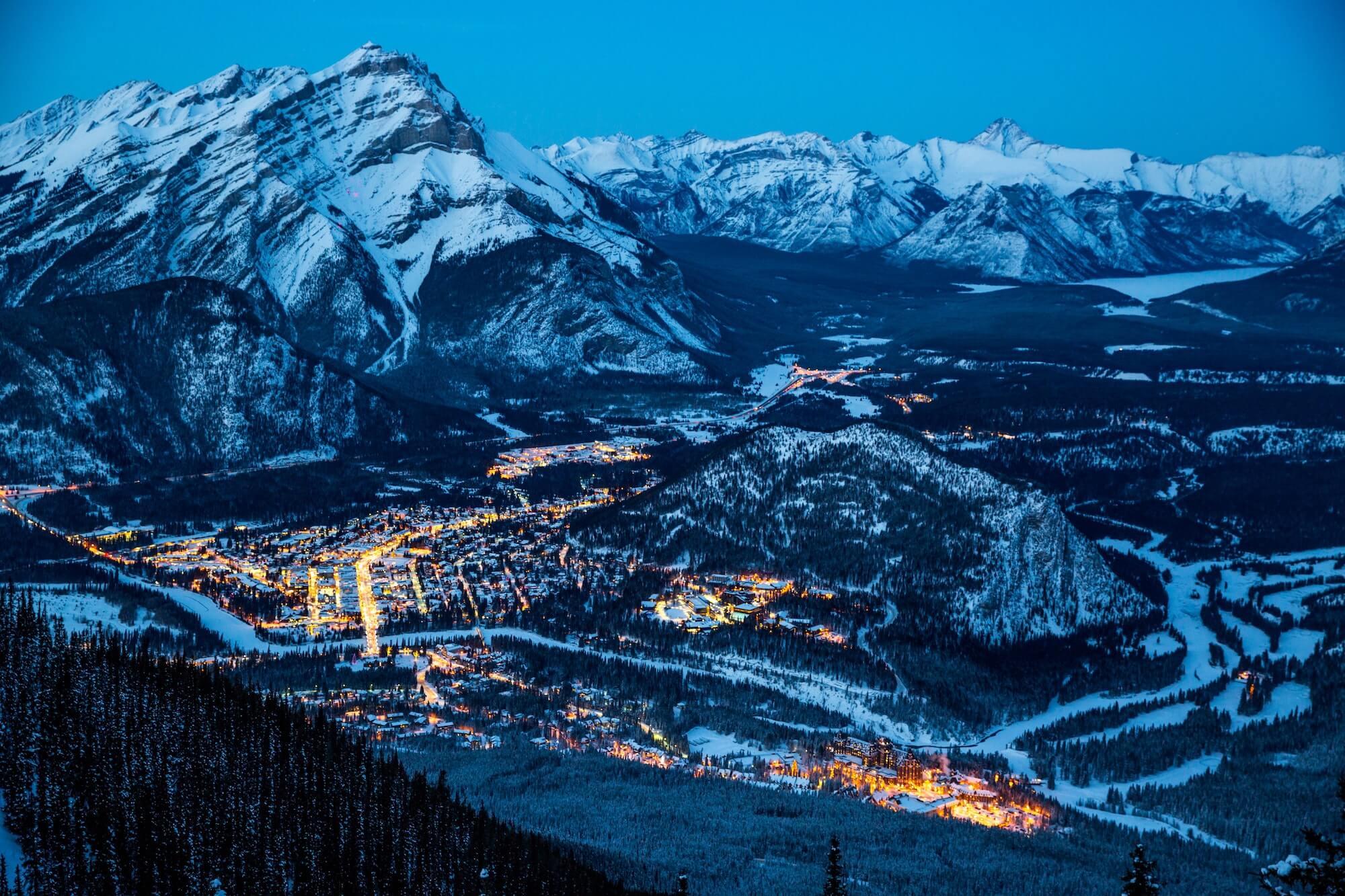 Banff town at night