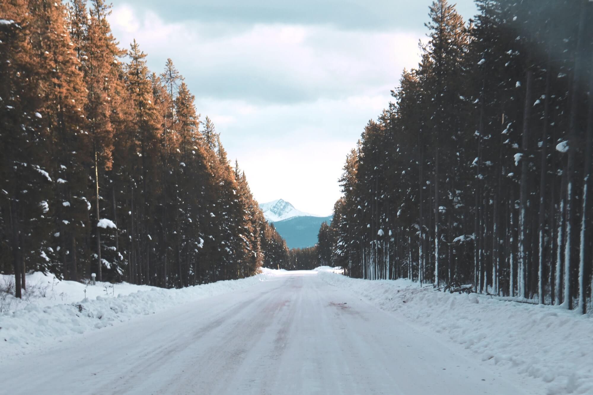 Snowy road in Banff